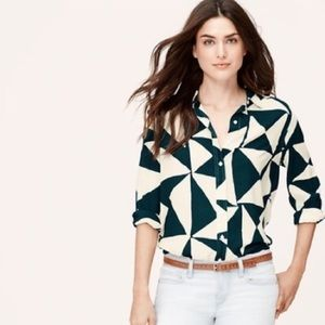 LOFT- Green Triangle Button Down Blouse